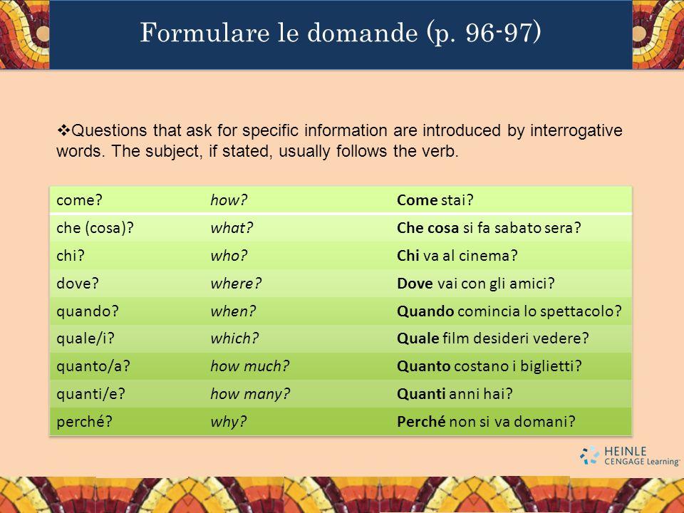 Formulare le domande (p.
