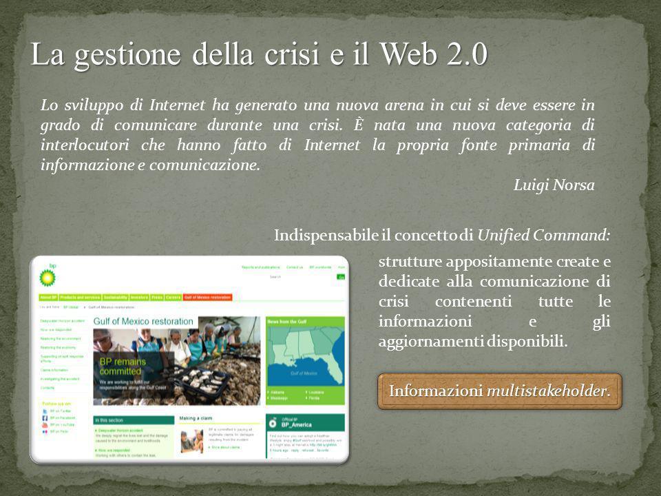La gestione della crisi e il Web 2.0 Lo sviluppo di Internet ha generato una nuova arena in cui si deve essere in grado di comunicare durante una cris