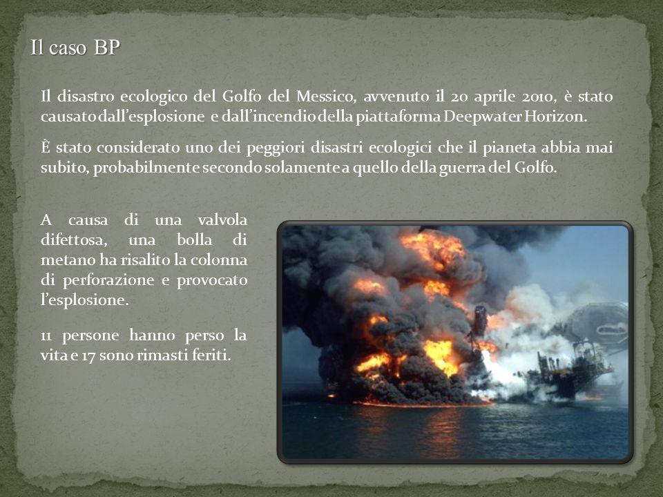 Il caso BP Il disastro ecologico del Golfo del Messico, avvenuto il 20 aprile 2010, è stato causato dallesplosione e dallincendio della piattaforma De