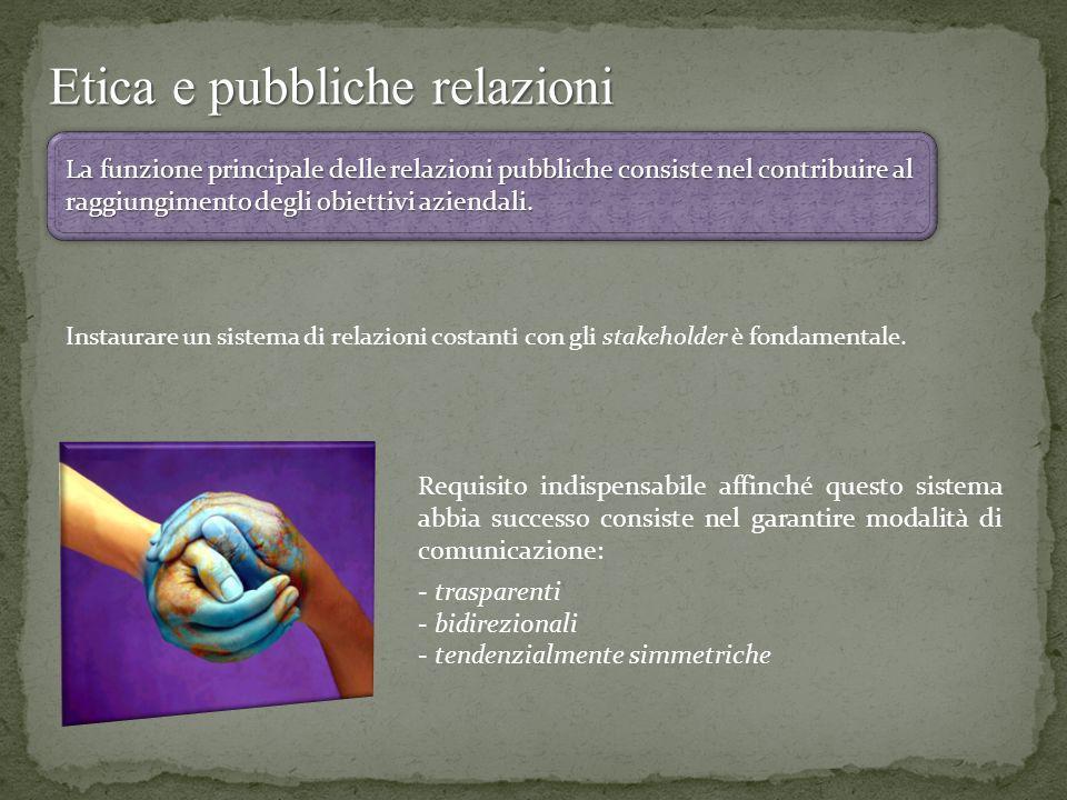 Etica e pubbliche relazioni La funzione principale delle relazioni pubbliche consiste nel contribuire al raggiungimento degli obiettivi aziendali. Ins