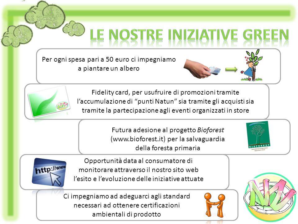 Per ogni spesa pari a 50 euro ci impegniamo a piantare un albero Fidelity card, per usufruire di promozioni tramite laccumulazione di punti Natun sia