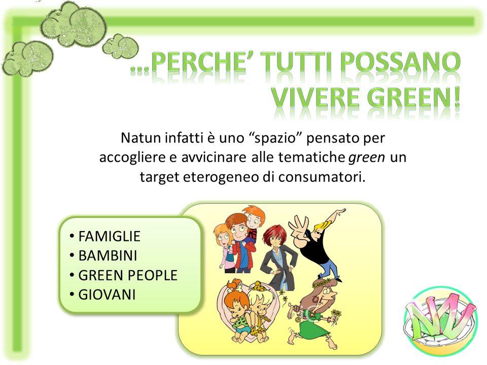 Natun infatti è uno spazio pensato per accogliere e avvicinare alle tematiche green un target eterogeneo di consumatori. FAMIGLIE BAMBINI GREEN PEOPLE