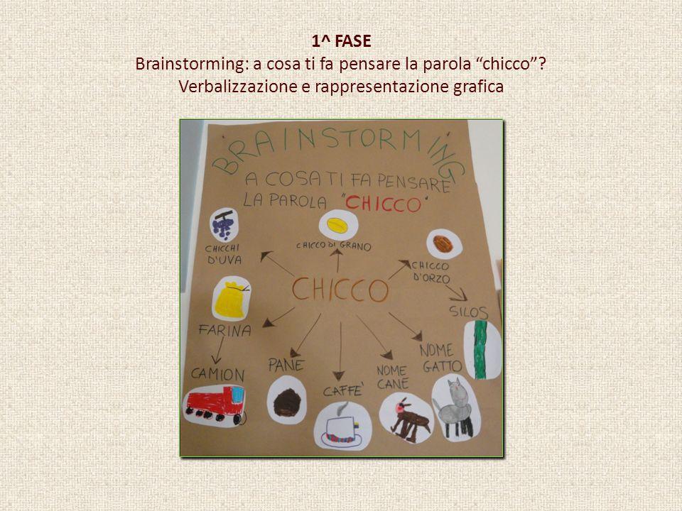 1^ FASE Brainstorming: a cosa ti fa pensare la parola chicco? Verbalizzazione e rappresentazione grafica