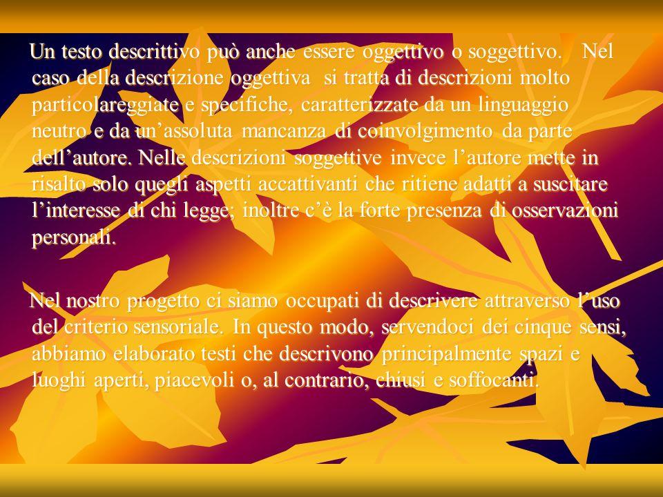 Un testo descrittivo può anche essere oggettivo o soggettivo. Nel caso della descrizione oggettiva si tratta di descrizioni molto particolareggiate e