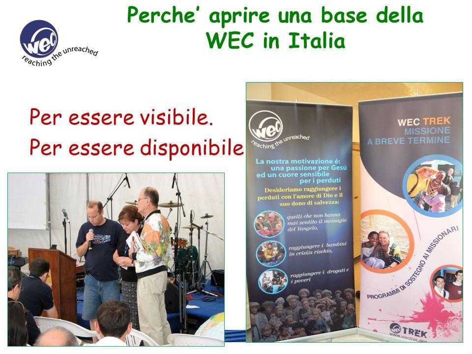 www.wec-int.it Qual e il compito della base WEC: Presentare la missione e i bisogni che ci sono nel Presentare la missione e i bisogni che ci sono nel mondo.