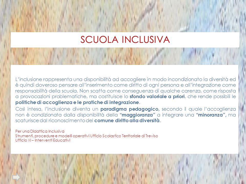 SCUOLA INCLUSIVA Linclusione rappresenta una disponibilità ad accogliere in modo incondizionato la diversità ed è quindi doveroso pensare allinserimen