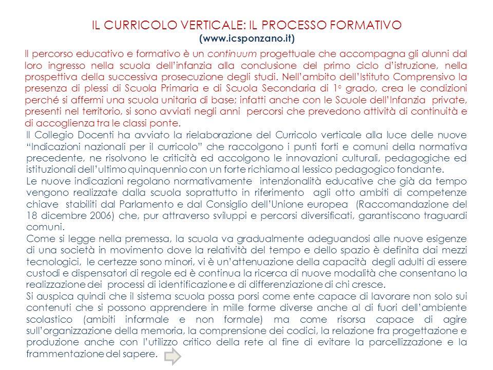IL CURRICOLO VERTICALE: IL PROCESSO FORMATIVO (www.icsponzano.it) Il percorso educativo e formativo è un continuum progettuale che accompagna gli alun