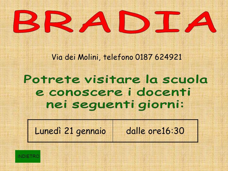 Via dei Molini, telefono 0187 624921 Lunedì 21 gennaiodalle ore16:30 INDIETRO