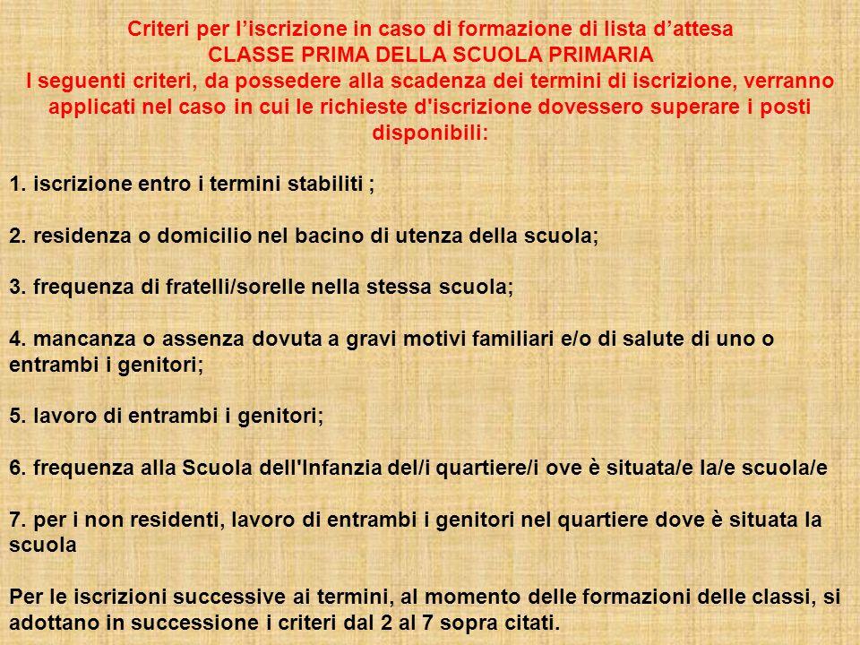 Criteri per liscrizione in caso di formazione di lista dattesa CLASSE PRIMA DELLA SCUOLA PRIMARIA I seguenti criteri, da possedere alla scadenza dei t