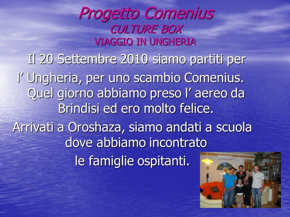 Progetto Comenius CULTURE BOX VIAGGIO IN UNGHERIA Il 20 Settembre 2010 siamo partiti per Il 20 Settembre 2010 siamo partiti per l Ungheria, per uno scambio Comenius.
