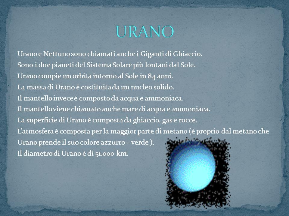 Urano e Nettuno sono chiamati anche i Giganti di Ghiaccio. Sono i due pianeti del Sistema Solare più lontani dal Sole. Urano compie un orbita intorno