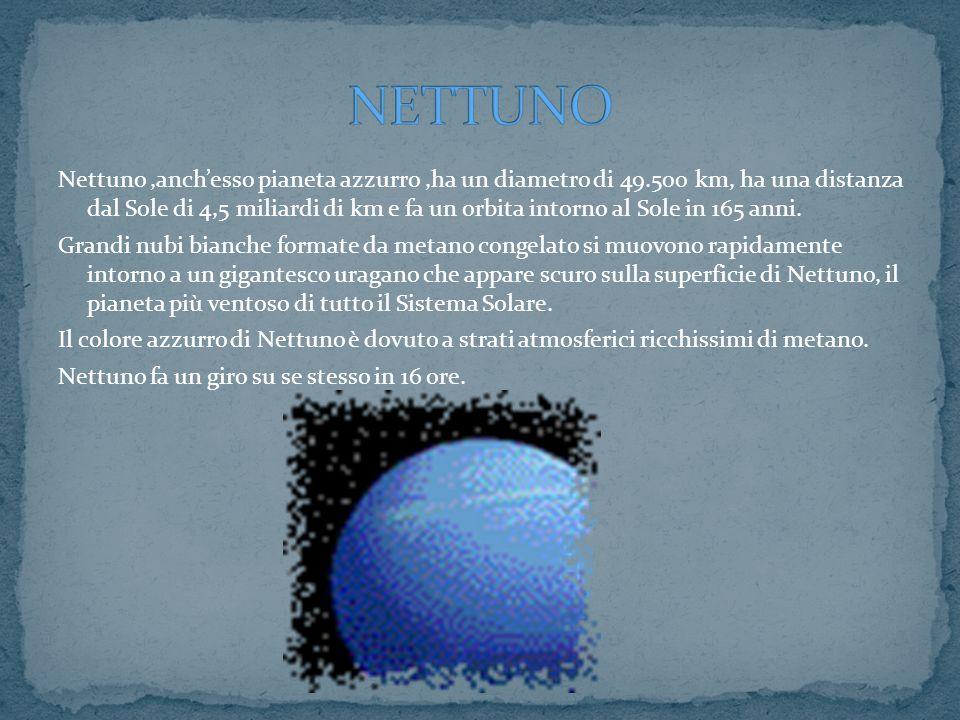 Nettuno,anchesso pianeta azzurro,ha un diametro di 49.500 km, ha una distanza dal Sole di 4,5 miliardi di km e fa un orbita intorno al Sole in 165 ann
