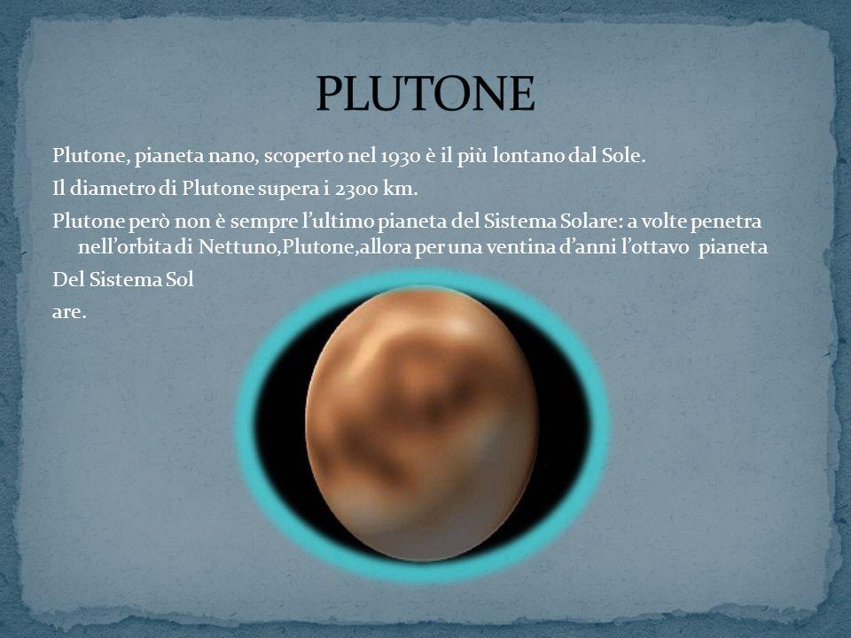 Plutone, pianeta nano, scoperto nel 1930 è il più lontano dal Sole. Il diametro di Plutone supera i 2300 km. Plutone però non è sempre lultimo pianeta