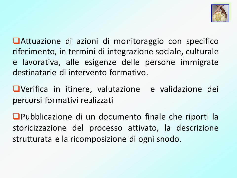 Attuazione di azioni di monitoraggio con specifico riferimento, in termini di integrazione sociale, culturale e lavorativa, alle esigenze delle persone immigrate destinatarie di intervento formativo.