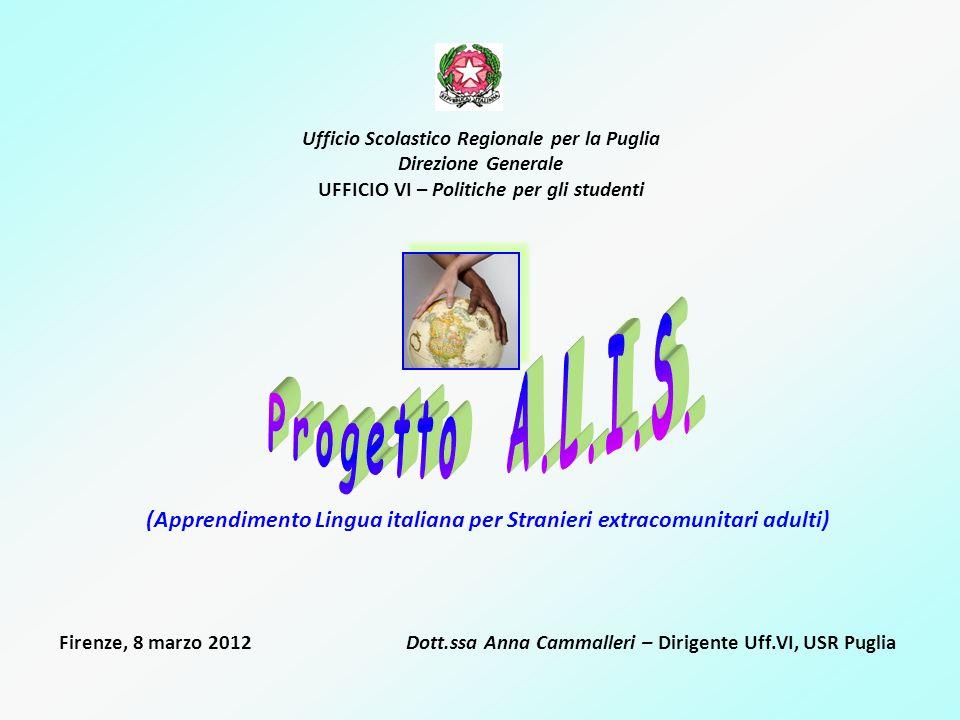 Ufficio Scolastico Regionale per la Puglia Direzione Generale UFFICIO VI – Politiche per gli studenti (Apprendimento Lingua italiana per Stranieri ext