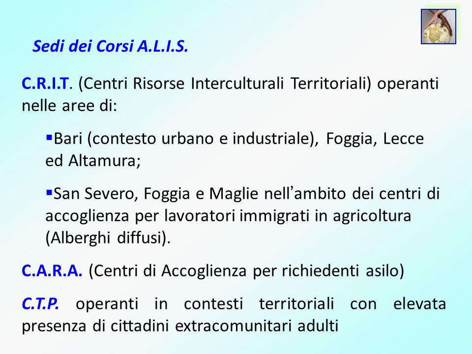 Sedi dei Corsi A.L.I.S. C.R.I.T. (Centri Risorse Interculturali Territoriali) operanti nelle aree di: Bari (contesto urbano e industriale), Foggia, Le