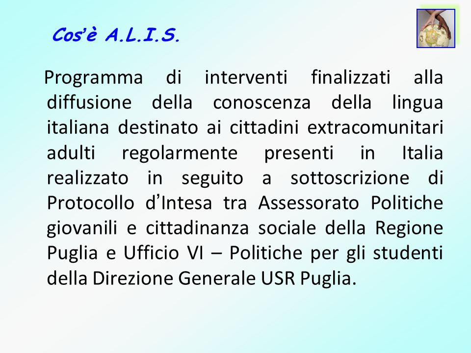 Programma di interventi finalizzati alla diffusione della conoscenza della lingua italiana destinato ai cittadini extracomunitari adulti regolarmente
