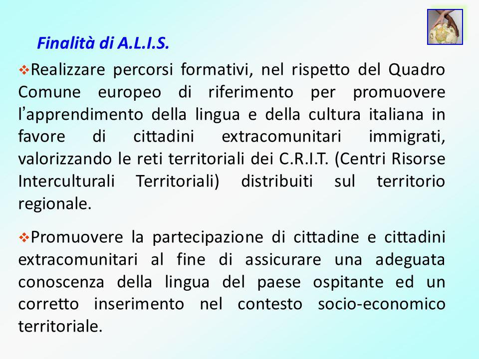 Finalità di A.L.I.S. Realizzare percorsi formativi, nel rispetto del Quadro Comune europeo di riferimento per promuovere l apprendimento della lingua