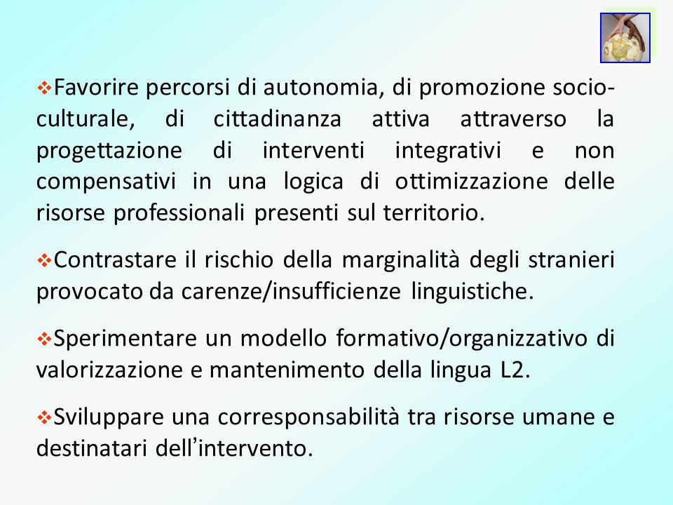 Favorire percorsi di autonomia, di promozione socio- culturale, di cittadinanza attiva attraverso la progettazione di interventi integrativi e non com