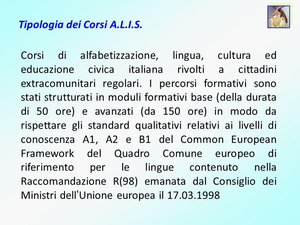 Tipologia dei Corsi A.L.I.S. Corsi di alfabetizzazione, lingua, cultura ed educazione civica italiana rivolti a cittadini extracomunitari regolari. I