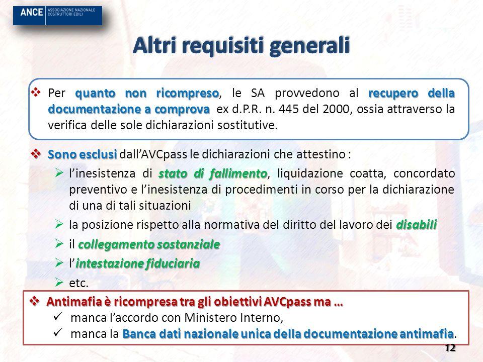 Antimafia è ricompresa tra gli obiettivi AVCpass ma … Antimafia è ricompresa tra gli obiettivi AVCpass ma … manca laccordo con Ministero Interno, Banc