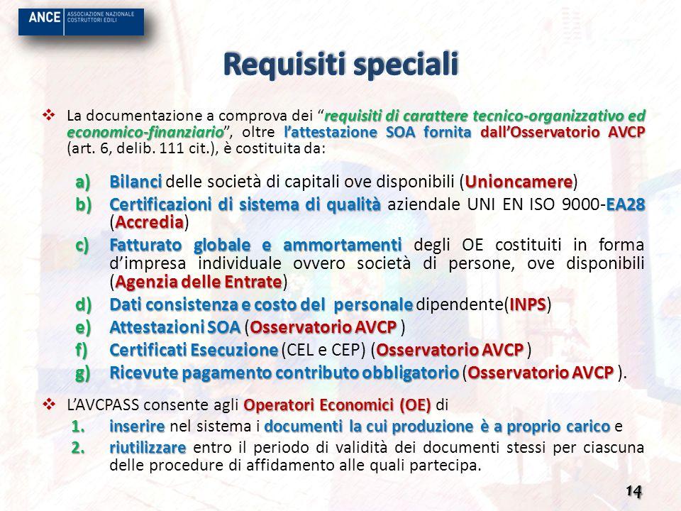 requisiti di carattere tecnico-organizzativo ed economico-finanziariolattestazione SOA fornita dallOsservatorio AVCP La documentazione a comprova dei