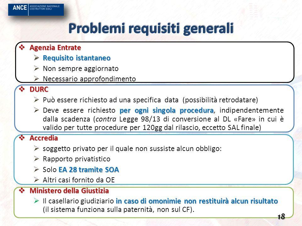 Agenzia Entrate Requisito istantaneo Non sempre aggiornato Necessario approfondimento DURC Può essere richiesto ad una specifica data (possibilità ret