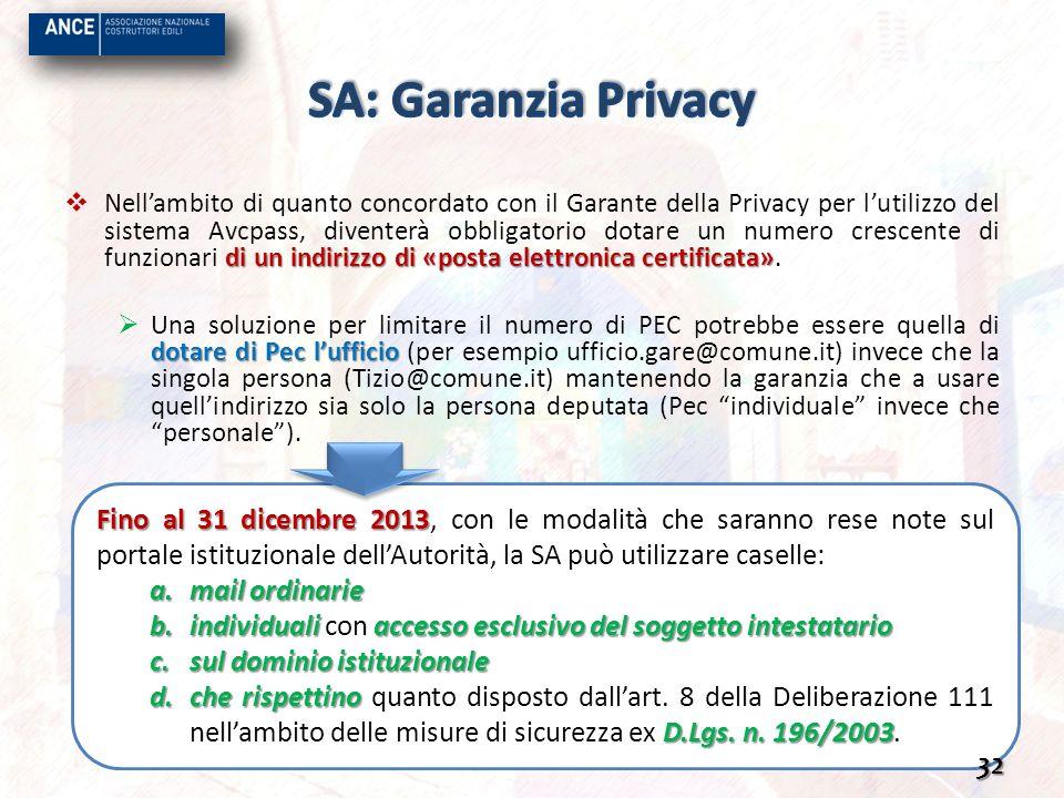Fino al 31 dicembre 2013 Fino al 31 dicembre 2013, con le modalità che saranno rese note sul portale istituzionale dellAutorità, la SA può utilizzare