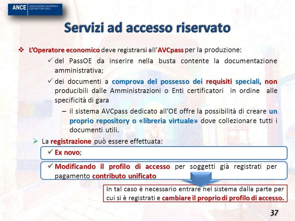 LOperatore economico AVCpass LOperatore economico deve registrarsi allAVCpass per la produzione: del PassOE da inserire nella busta contente la docume
