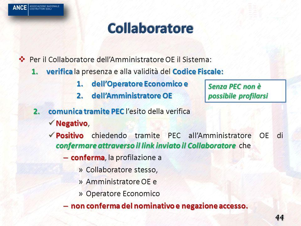 Per il Collaboratore dellAmministratore OE il Sistema: 1.verifica Codice Fiscale: 1.verifica la presenza e alla validità del Codice Fiscale: 1.dellOpe