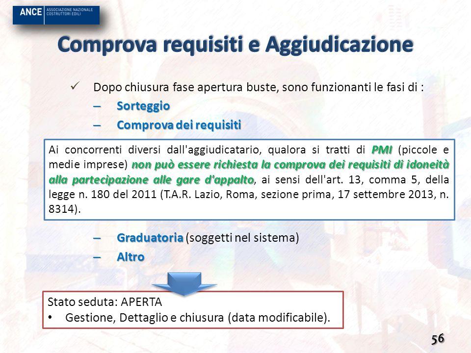 Dopo chiusura fase apertura buste, sono funzionanti le fasi di : – Sorteggio – Comprova dei requisiti – Graduatoria – Graduatoria (soggetti nel sistem