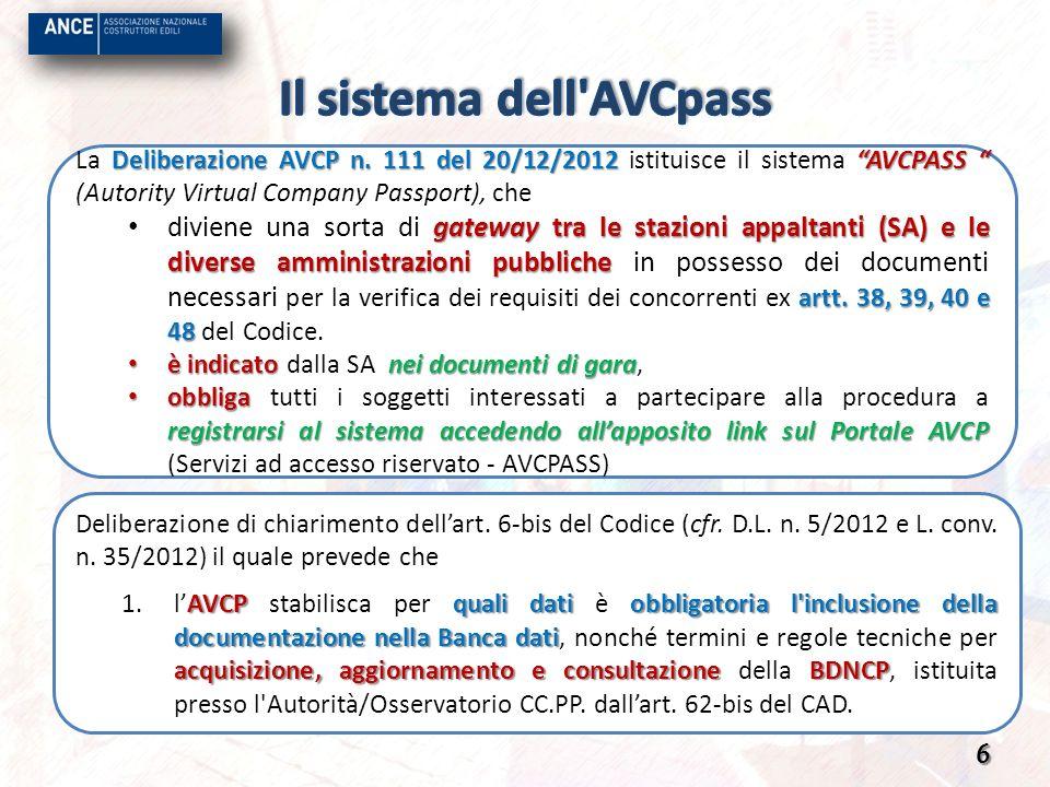 Deliberazione AVCP n. 111 del 20/12/2012 AVCPASS La Deliberazione AVCP n. 111 del 20/12/2012 istituisce il sistema AVCPASS (Autority Virtual Company P