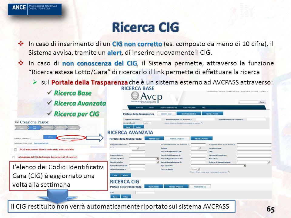 CIG non corretto alert In caso di inserimento di un CIG non corretto (es. composto da meno di 10 cifre), il Sistema avvisa, tramite un alert, di inser