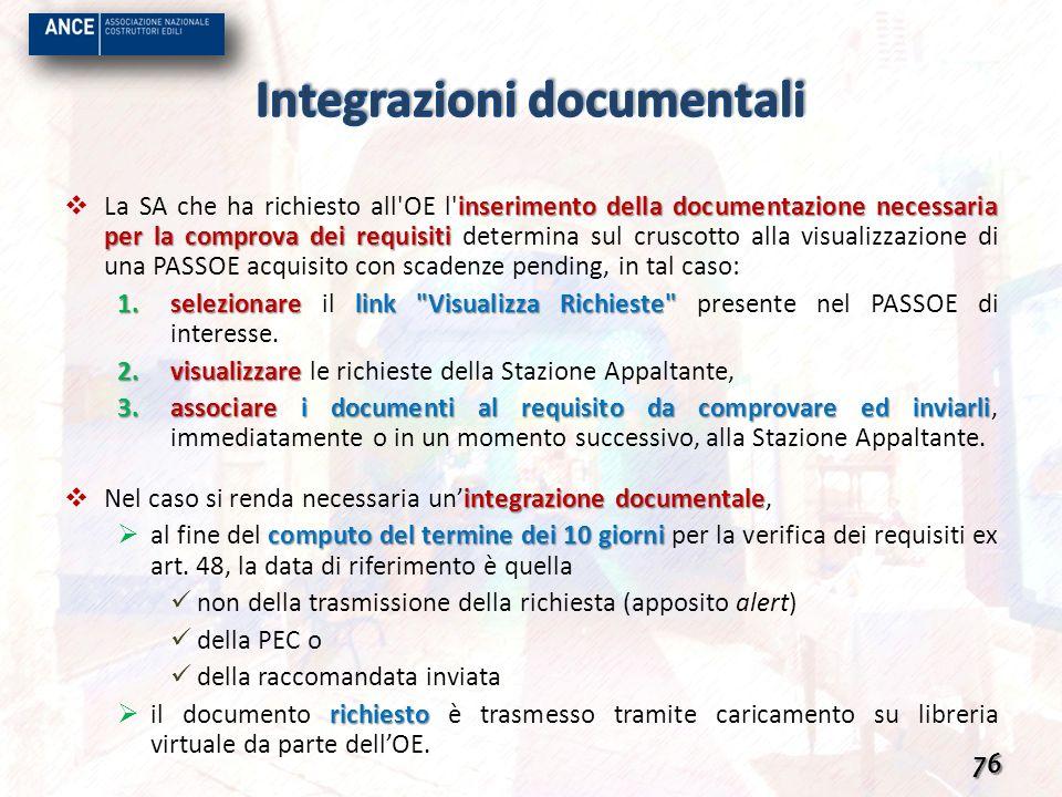 inserimento della documentazione necessaria per la comprova dei requisiti La SA che ha richiesto all'OE l'inserimento della documentazione necessaria