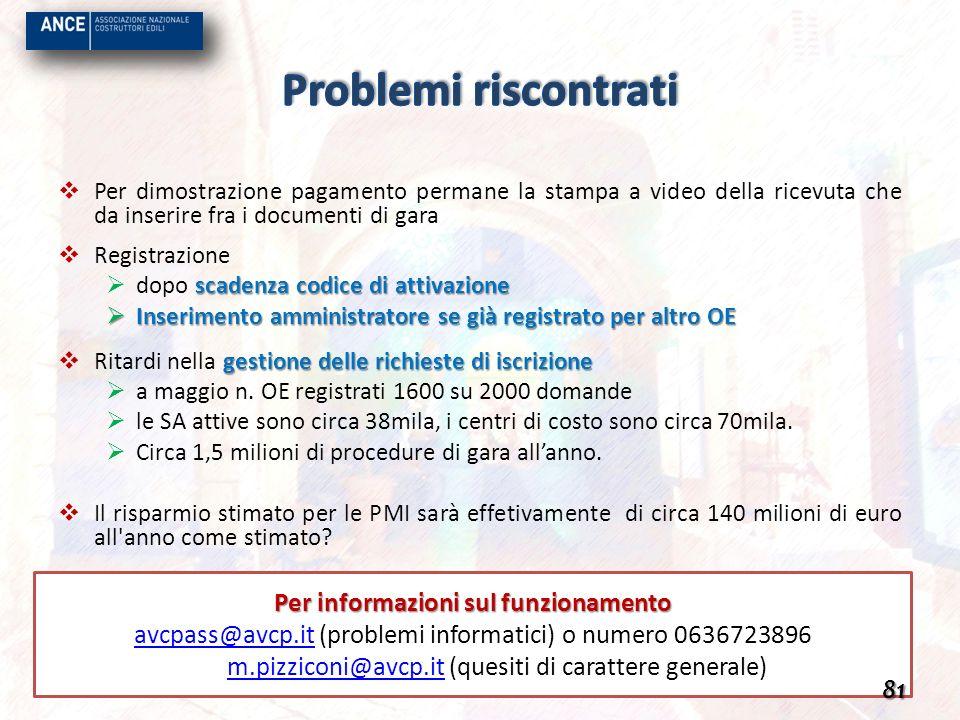 Per informazioni sul funzionamento avcpass@avcp.itavcpass@avcp.it (problemi informatici) o numero 0636723896 m.pizziconi@avcp.itm.pizziconi@avcp.it (q