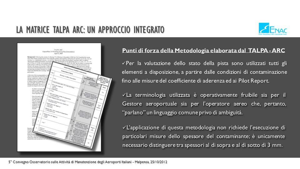 LA MATRICE TALPA ARC: UN APPROCCIO INTEGRATO 5° Convegno Osservatorio sulle Attività di Manutenzione degli Aeroporti Italiani - Malpensa, 25/10/2012