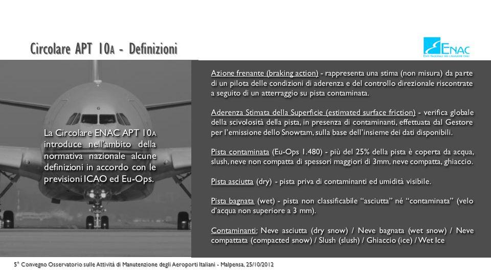 Circolare APT 10 A - Struttura 5° Convegno Osservatorio sulle Attività di Manutenzione degli Aeroporti Italiani - Malpensa, 25/10/2012