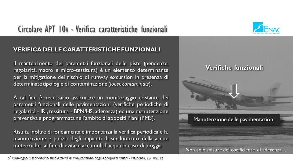 Circolare APT 10 A - Definizioni 5° Convegno Osservatorio sulle Attività di Manutenzione degli Aeroporti Italiani - Malpensa, 25/10/2012