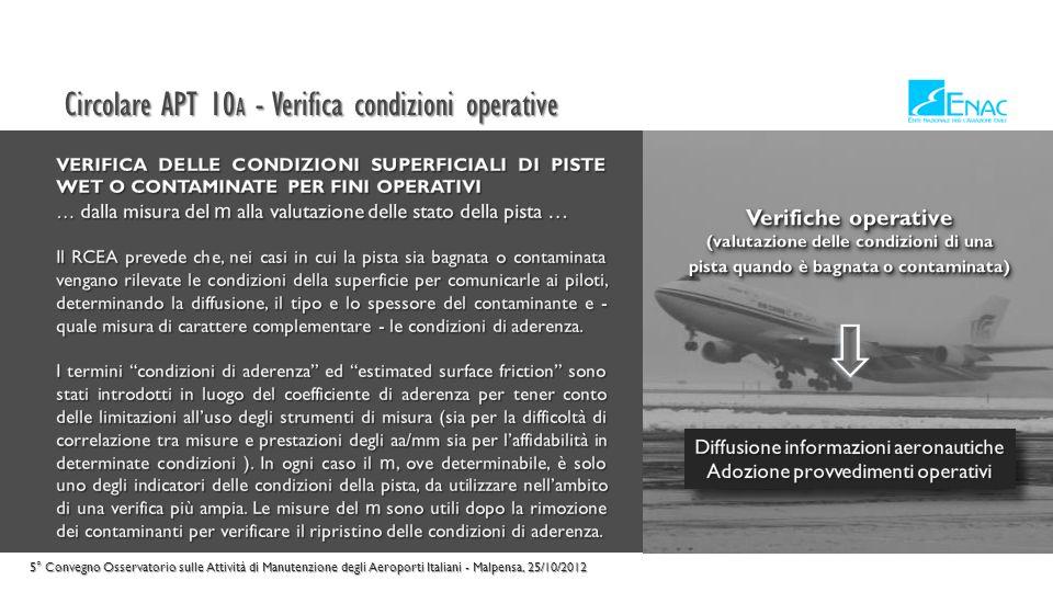 Circolare APT 10 A - Verifica caratteristiche funzionali 5° Convegno Osservatorio sulle Attività di Manutenzione degli Aeroporti Italiani - Malpensa, 25/10/2012
