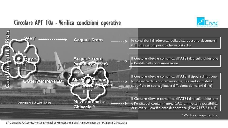 Circolare APT 10 A - Verifica condizioni operative 5° Convegno Osservatorio sulle Attività di Manutenzione degli Aeroporti Italiani - Malpensa, 25/10/2012