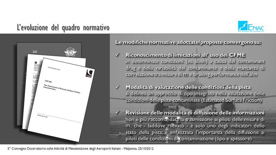 La Normativa Nazionale 5° Convegno Osservatorio sulle Attività di Manutenzione degli Aeroporti Italiani - Malpensa, 25/10/2012