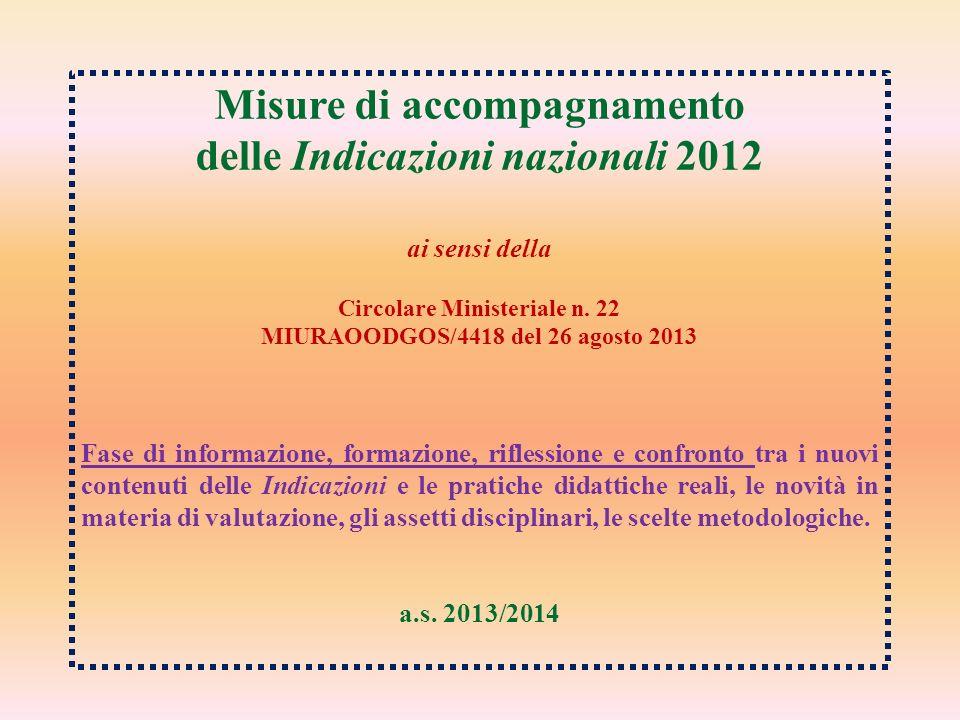 Misure di accompagnamento delle Indicazioni nazionali 2012 ai sensi della Circolare Ministeriale n. 22 MIURAOODGOS/4418 del 26 agosto 2013 Fase di inf