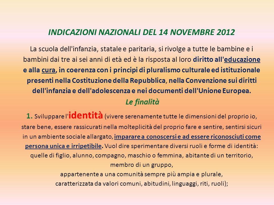 INDICAZIONI NAZIONALI DEL 14 NOVEMBRE 2012 La scuola dell'infanzia, statale e paritaria, si rivolge a tutte le bambine e i bambini dai tre ai sei anni