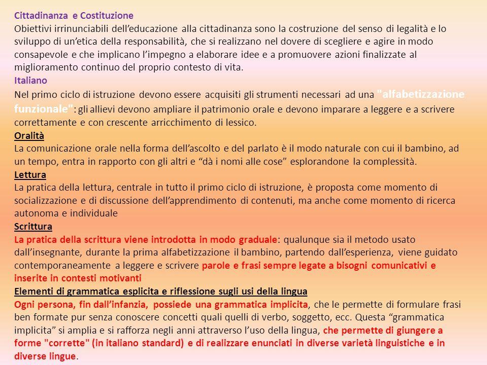 Cittadinanza e Costituzione Obiettivi irrinunciabili delleducazione alla cittadinanza sono la costruzione del senso di legalità e lo sviluppo di uneti