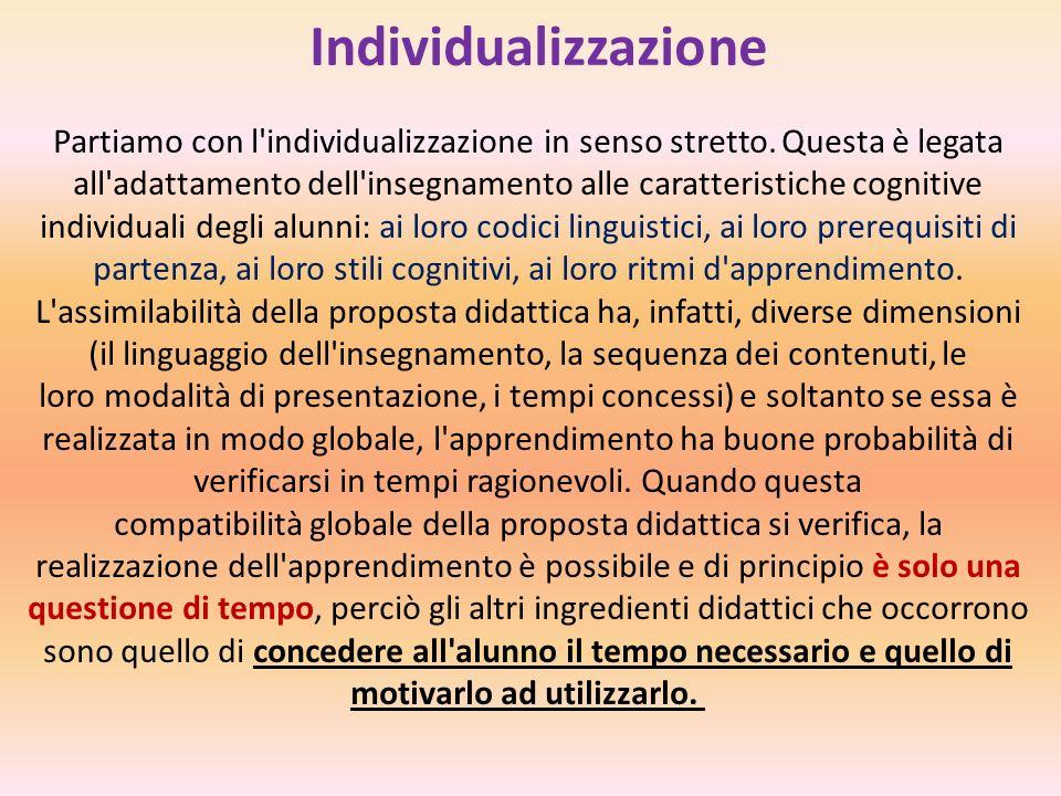 Individualizzazione Partiamo con l'individualizzazione in senso stretto. Questa è legata all'adattamento dell'insegnamento alle caratteristiche cognit