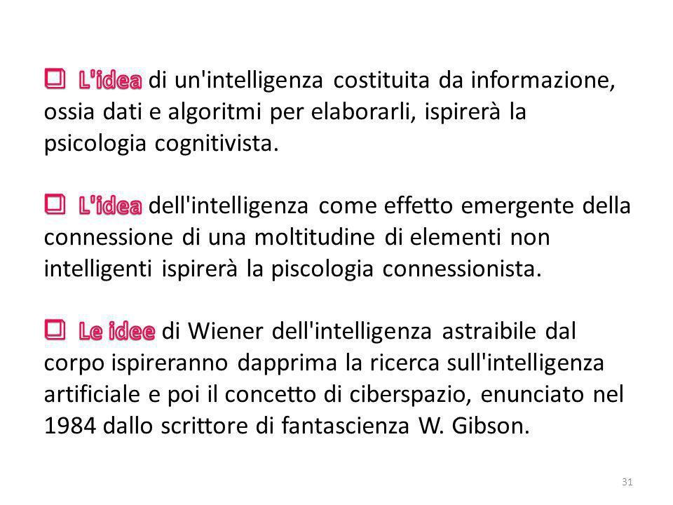 L'intelligenza per i cibernetici è costituita da informazione. È possibile quindi astrarre l'intelligenza dalla massa fisica del cervello che costitui