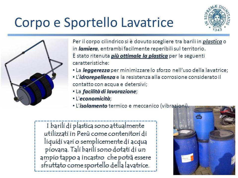 Corpo e Sportello Lavatrice I barili di plastica sono attualmente utilizzati in Perù come contenitori di liquidi vari o semplicemente di acqua piovana.