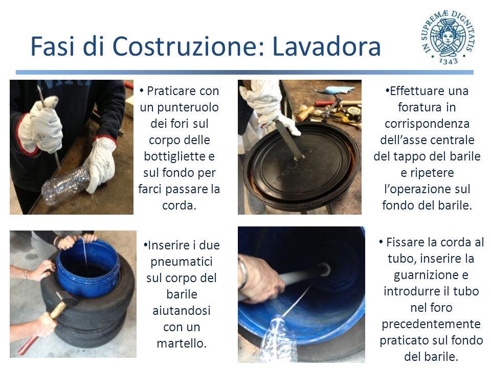 Fasi di Costruzione: Lavadora Effettuare una foratura in corrispondenza dellasse centrale del tappo del barile e ripetere loperazione sul fondo del barile.