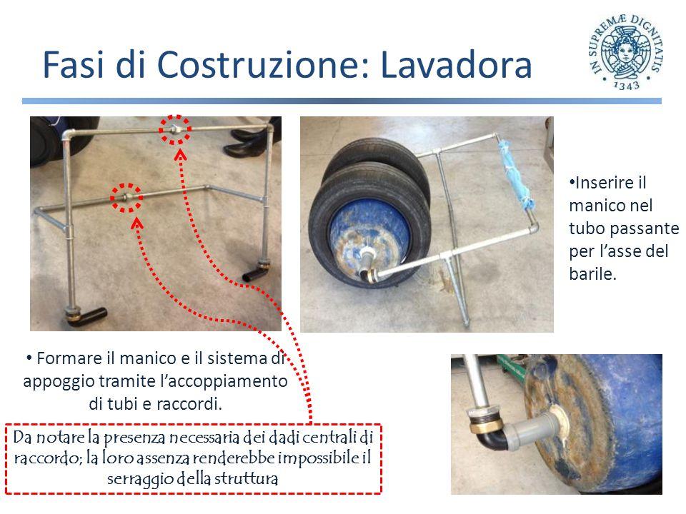 Fasi di Costruzione: Lavadora Formare il manico e il sistema di appoggio tramite laccoppiamento di tubi e raccordi.