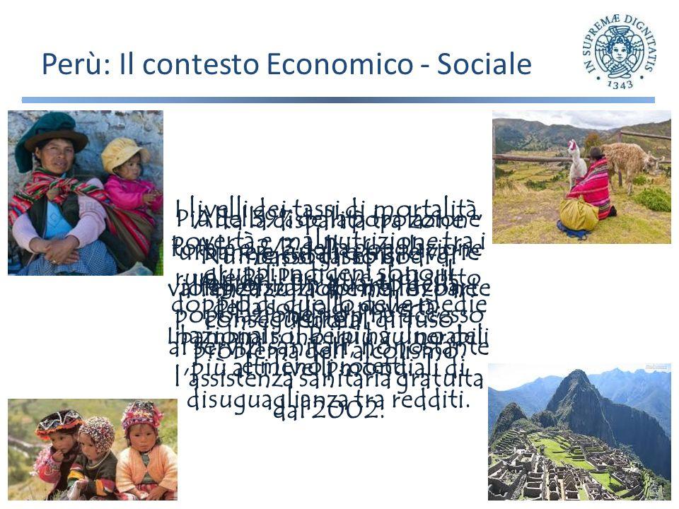 Perù: Il contesto Economico - Sociale Più del 39% della popolazione totale e 2/3 della popolazione rurale del Perù vive al di sotto della soglia di povertà; I bambini sono i più vulnerabili e meno protetti.